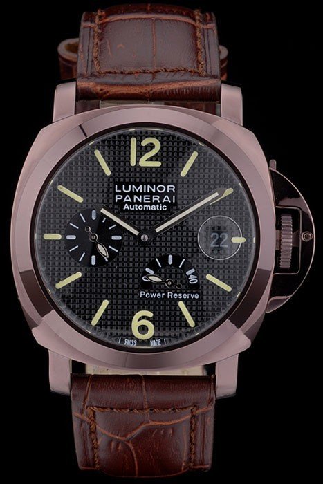 Panerai  Luminor Brown Leather Strap Black Dial 80165