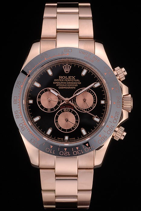 Rolex Daytona Black Ion Plated Tachymeter Rose Gold Strap Black Dial 80245