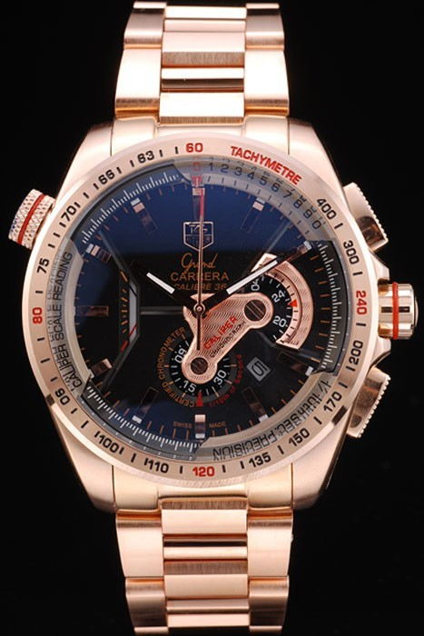 Tag Heuer Carrera Rose Gold Case Black Dial