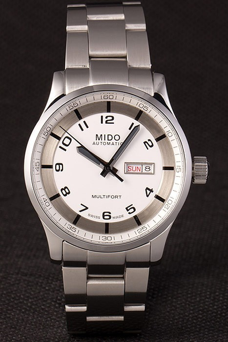 Mido Multifort Stainless Steel Strap White Dial 80291