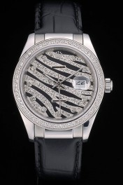 Swiss Rolex Datejust Special Edition 2012 Black Leather Strap 80252