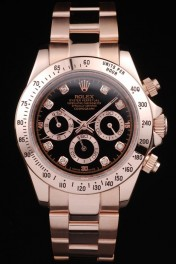 Rolex Daytona Rose GoldPlated Stainless Steel Black Dial