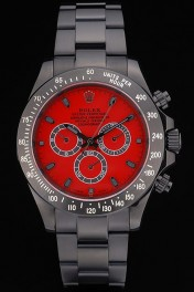 Rolex Daytona Black Ion Plated Tachymeter Black Stainless Steel Strap Red Dial 80248