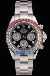 Rolex Daytona Cosmograph Rainbow Crystals Bezel Stainless Steep Strap Black Dial 80250