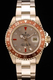 Rolex GMT Master II Gold Colored Ceramic Bezel Gold Dial Tachymeter