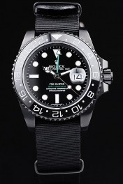 Rolex Swiss GMT Master II Pro-Hunter Black Fabric Strap Black Dial