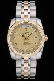 Swiss Tudor Classic Rose Crystal Encrusted Bezel Crystal Encrusted Golden Dial 80304