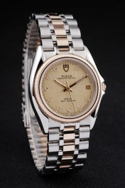 Tudor Swiss Classic Prince Date Stainless Steel Case Rose Gold Ribbed Bezel Gold Dial