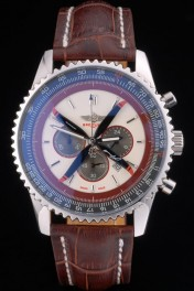 Breitling Certifie Brown Leather Strap Beige Dial Chronograph 80175