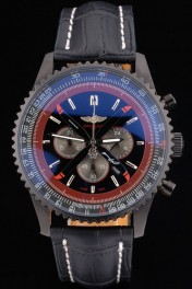Breitling Certifie Black Leather Strap Black Dial Chronograph 80179