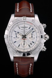 Swiss Breitling Certifie Stainless Steel Bezel Brown Croco Leather Bracelet White Dial 80285