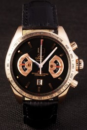 Tag Heuer Carrera Rose Gold Case Black Dial Black Leather Strap