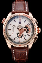 Tag Heuer Carrera Rose Gold Case White Dial Brown Leather Strap