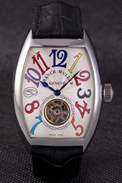 Franck Muller Casablanca Black Croco Leather Strap White Dial 80280