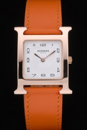 Hermes Heure H Rose Gold Bezel Orange Leather Strap White Dial 80234