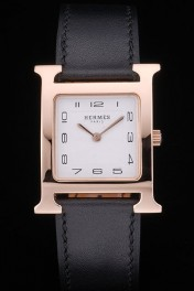 Hermes Heure H Rose Gold Bezel Black Leather Strap White Dial 80235