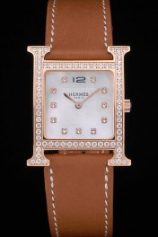 Hermes Heure H Rose Gold Diamond Encrusted Bezel Tan Leather Strap White Dial 80236