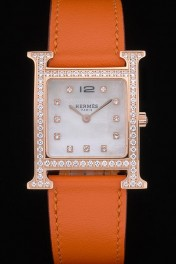 Hermes Heure H Rose Gold Diamond Encrusted Bezel Orange Leather Strap White Dial 80237
