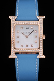 Hermes Heure H Rose Gold Diamond Encrusted Bezel Blue Leather Strap White Dial 80238