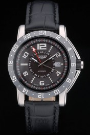 Longines HydroConquest Black Leather Strap Black Ceramic Tachymeter Black Dial 80225
