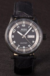 Mido Multifort Black Croco Leather Strap Black-Silver Dial 80296