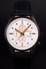 Mido Multifort Black Croco Leather Strap Orange Dial Details 80289