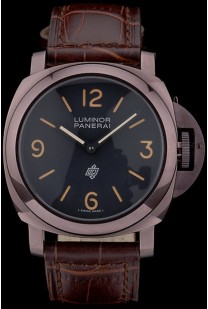 Panerai  Luminor Brown Leather Strap Black Dial 80164