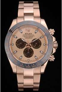 Rolex Daytona Ion Plated Tachymeter Rose Gold Strap Rose Gold Dial 80244
