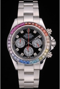Rolex Daytona Cosmograph Rainbow Crystals Bezel Stainless Steep Strap Black Dial 80250