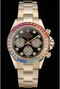 Rolex Daytona Cosmograph Rainbow Crystals Bezel Rose Gold Strap Black Dial 80251