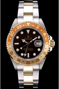 Rolex GMT Master II Gold Colored Ceramic Bezel Brown Dial Tachymeter