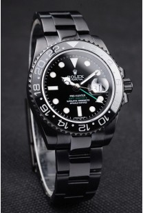 Rolex Swiss GMT Master II Pro-Hunter Black Steel Strap Black Dial