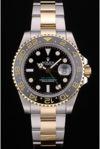 Swiss Rolex GMT Master Rose Gold Bezel Black Dial 80295