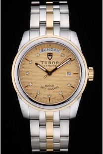 Swiss Tudor Classic Rose Gold and Stainless Steel Polished Bezel Golden Dial 80305