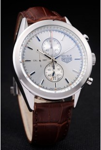 Tag Heuer SLR Brushed Stainless Steel Case Silver Dial Brown Leather Strap