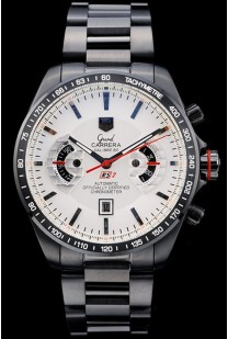 Tag Heuer Carrera Black Stainless Steel Case White Dial