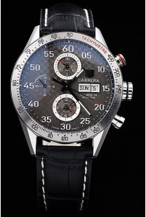 Tag Heuer Swiss Carrera Tachymeter Bezel Black Leather Strap Checkered Brown Dial