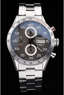 Tag Heuer Swiss Carrera Tachymeter Bezel Stainless Steel Checkered Brown Dial