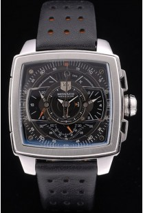 Tag Heuer Monaco Mikrograph Black Leather Strap Black Dial 7923