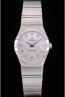 Swiss Lady Omega Constellation Stainless Steel Bracelet Silver Dial 80290