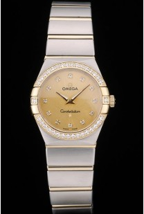 Swiss Lady Omega Constellation Crystal Encrusted Bezel Golden Dial 80293