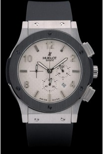 Hublot Big Bang Black Rubber Strap White Checkered Dial 80196