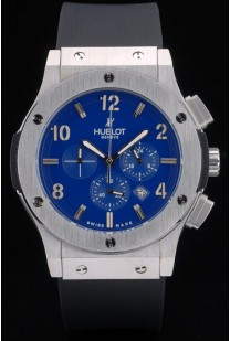 Hublot Big Bang Black Rubber Strap Blue Checkered Dial 80199