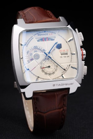 Tag Heuer Monaco Brushed Stainless Steel Case White Dial Brown Leather Strap